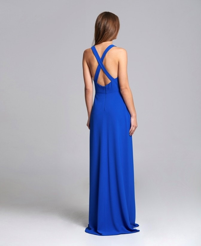 vestido largo ursula azul espalda